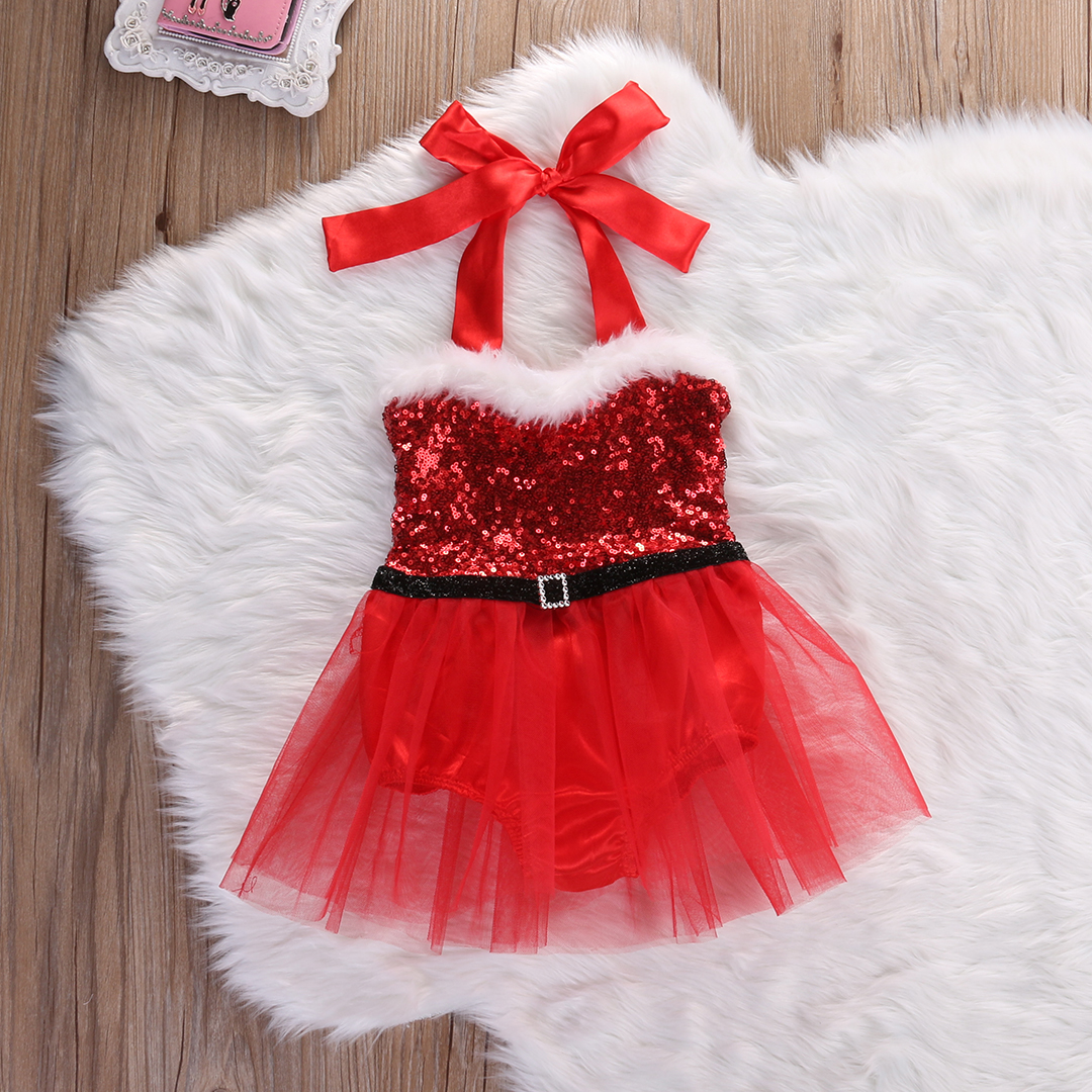 US Newborn Baby Girl Santa Tutu Dress Romper Jumpsuit Outfits ...