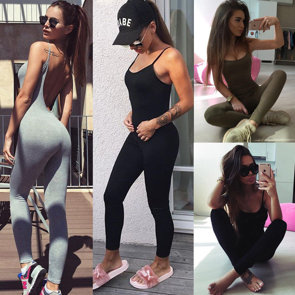 4cee9a33b785 Details about Fitness YOGA Legging Jumpsuit Athletic Gym Clothes Pants  Sport Women Workout