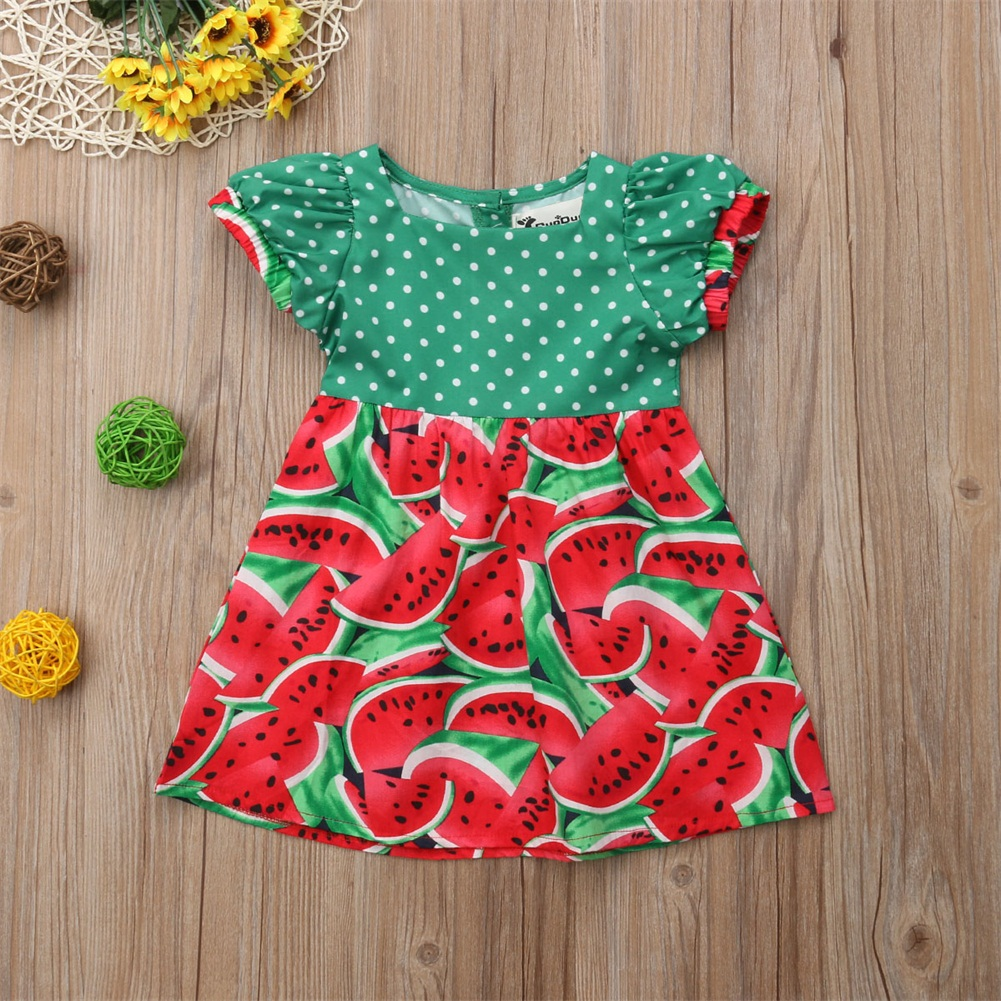 998a39e94bee Details about Summer Toddler Kids Baby Girl Watermelon Party Princess Dress  Holiday Clothes