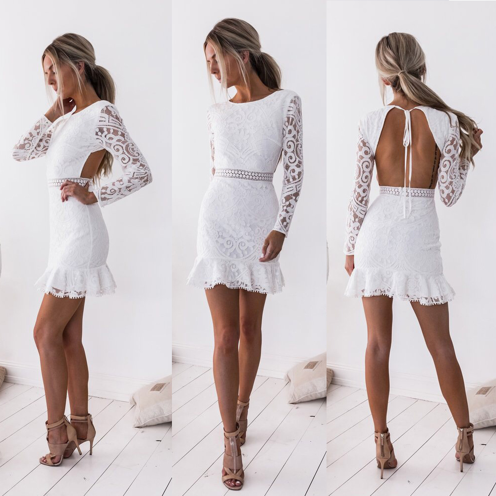 616156c85e Details about Women Sexy Evening Party Cocktail Short Mini White Dress  Bodycon Backless Dress