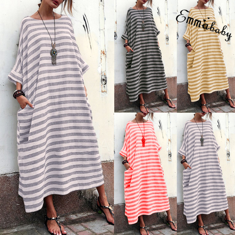 d0dc8694a4 Details about Sexy Women Peasant Ethnic Boho Cotton Linen Long Sleeve Maxi  Dress Gypsy Dresses