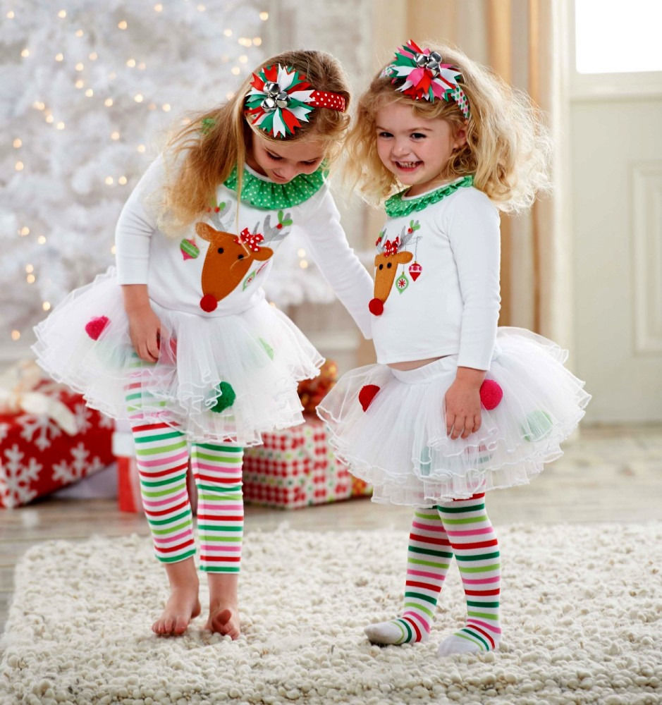 Christmas Kids Baby Girls Reindeer T Shirts Tutu Pants Leggings ...