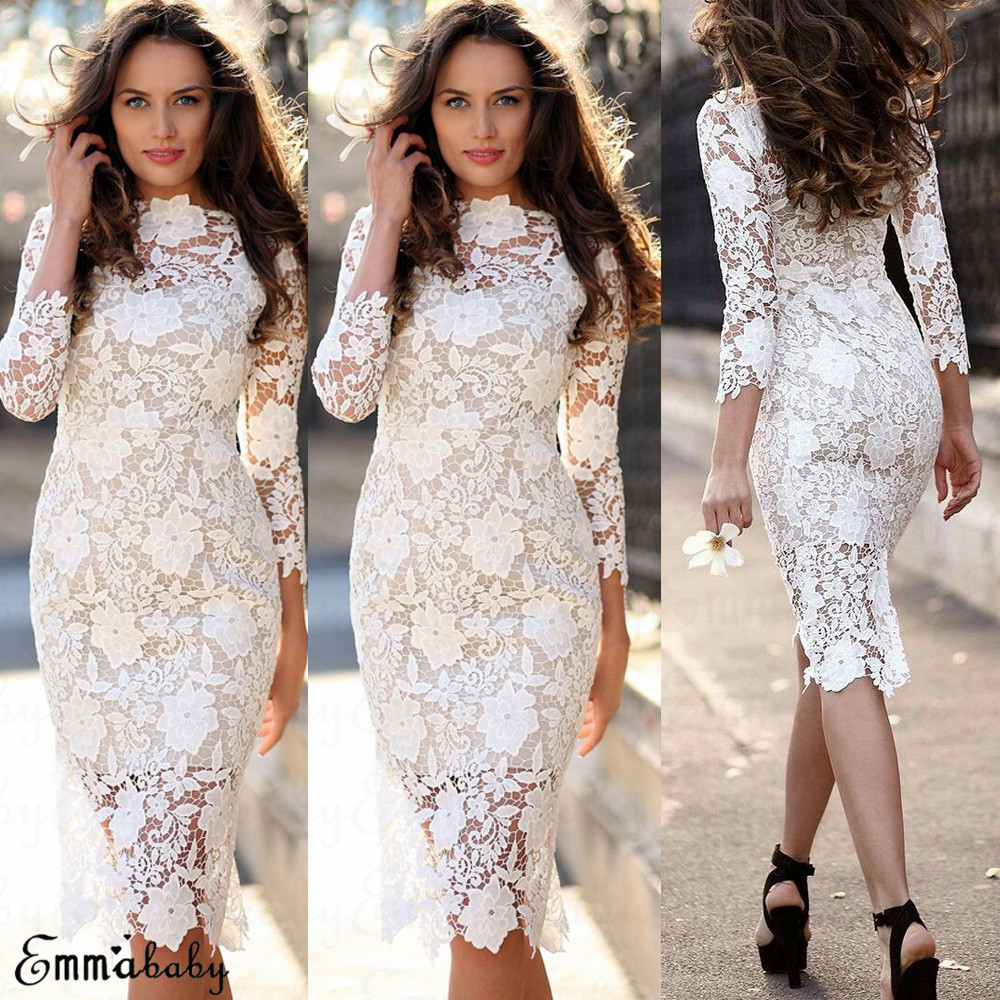 98e1ed1972dab Details about Women Lace Long Sleeve Bodycon Cocktail Party Evening Dress  Formal Prom Dresses