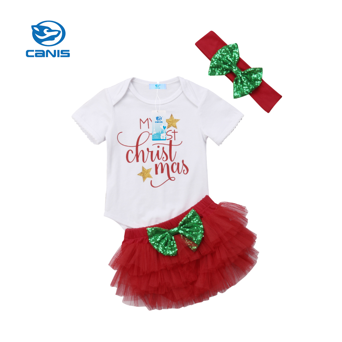 Infant Baby Girls My First Christmas Outfits Romper Tutu Shorts ...