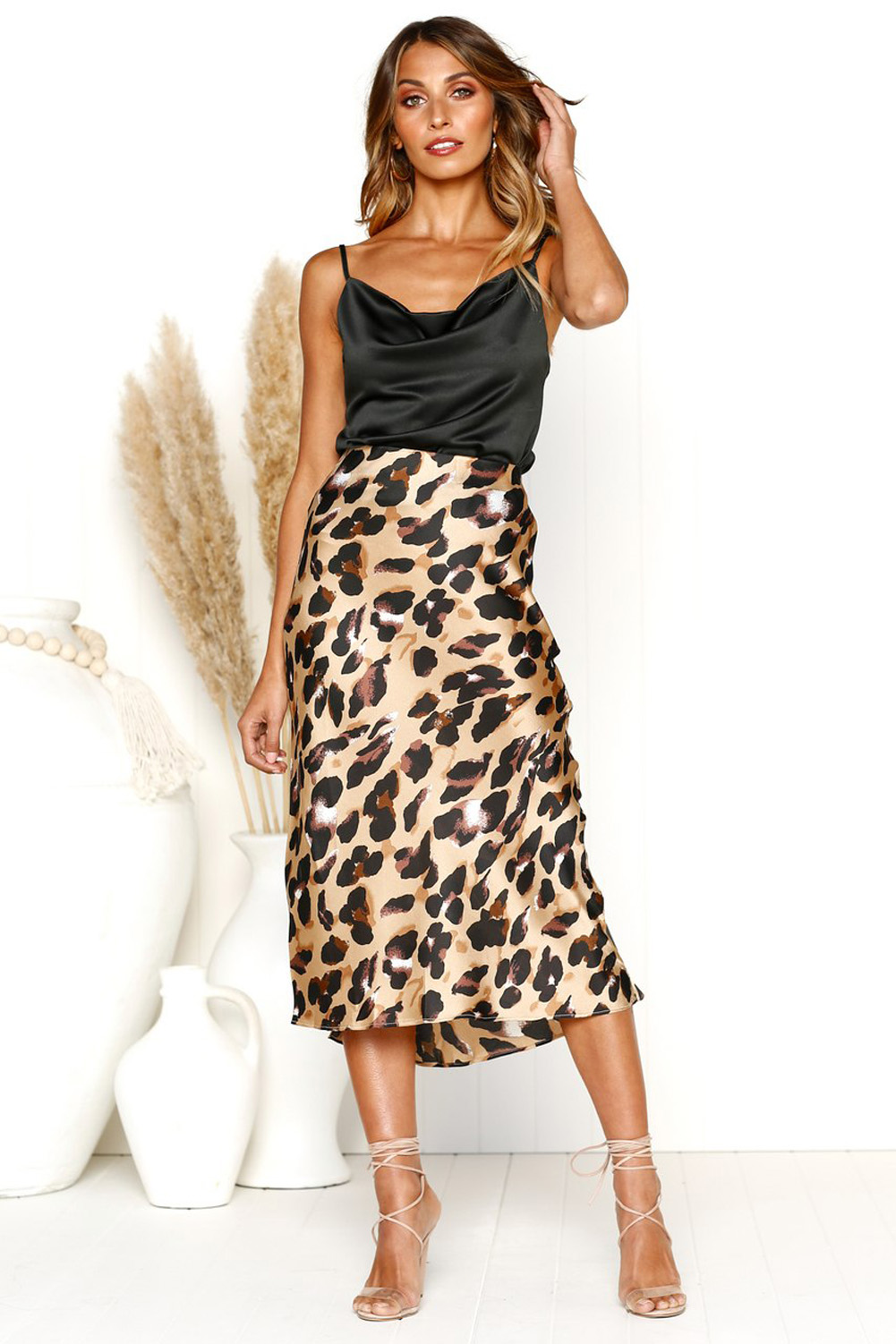 aef4a067ce Details about Women s Sexy Leopard Print Bodycon Slim Midi Length Skirt  Party High Waist Dress