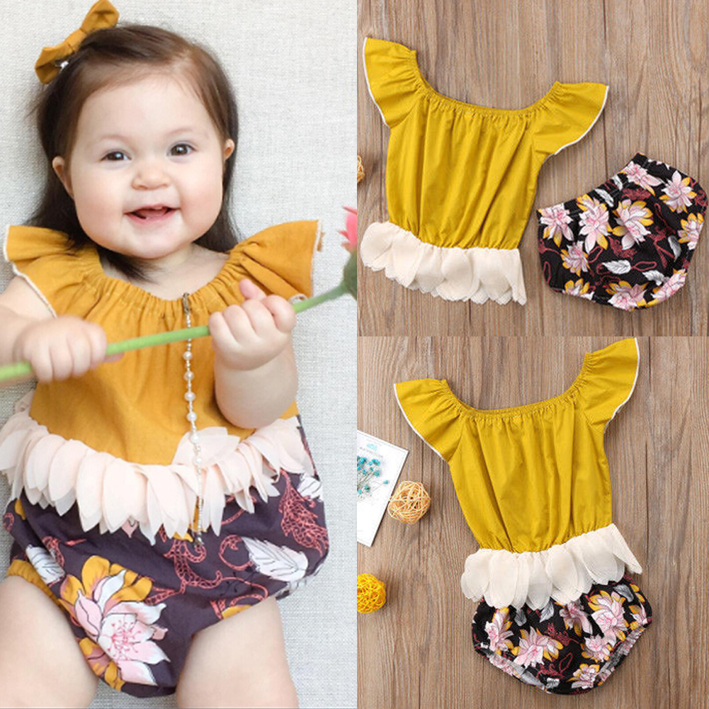 66bf56097866 Details about US Stock Newborn Kids Baby Girls Tassel Romper Top Floral  Short Pants Outfit Set