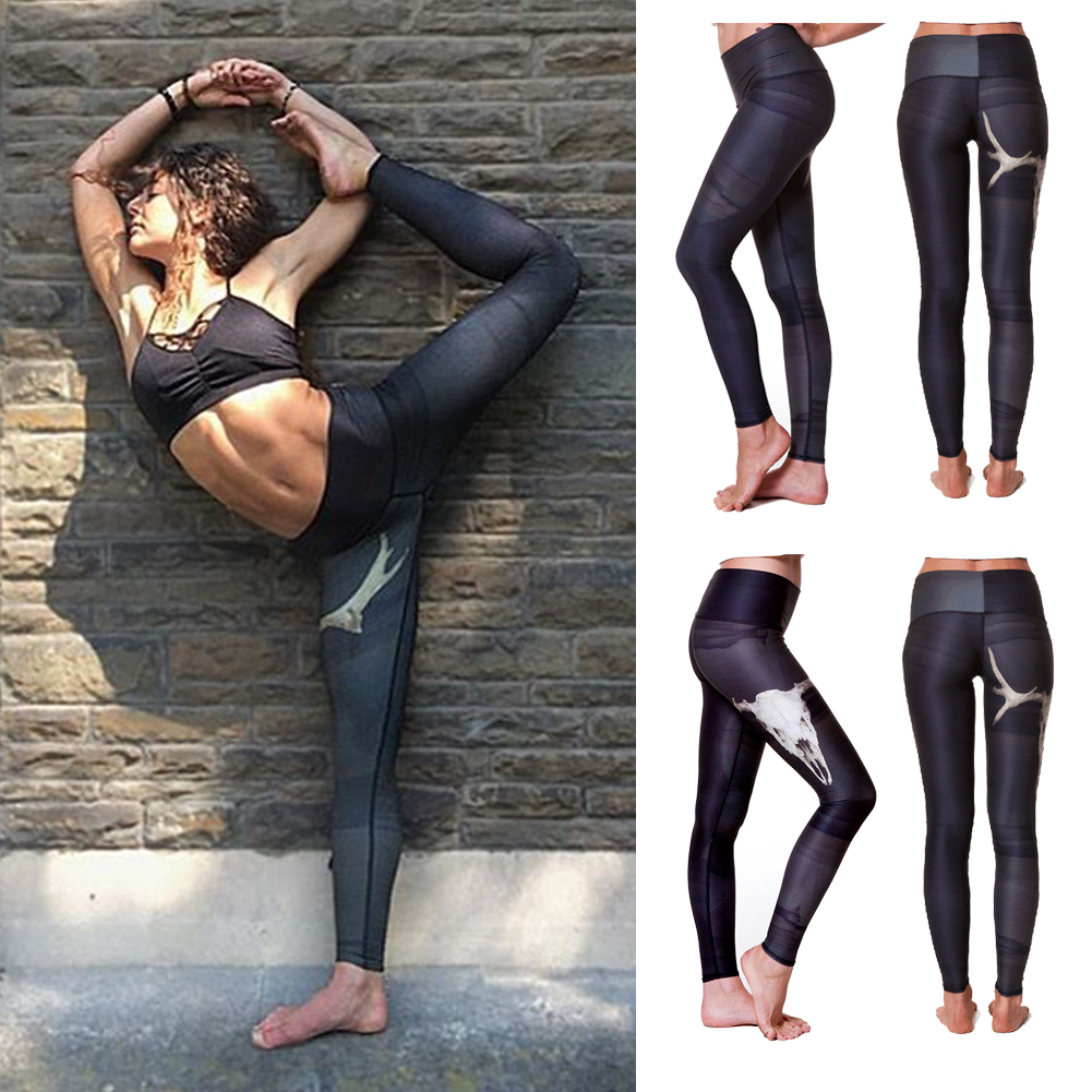 Details about Fitness Yoga Sport Print Leggings Women Stretch Skinny Workout  Gym Running Pants