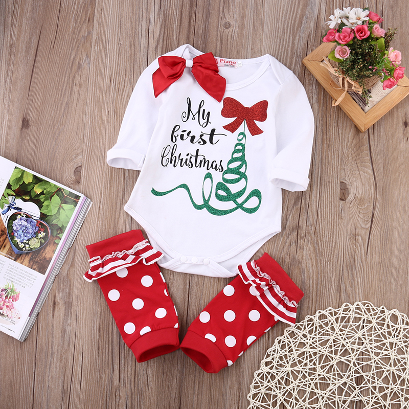My 1st Christmas Baby Boy Girl Outfits Clothes Romper Bodysuit 2pcs ...