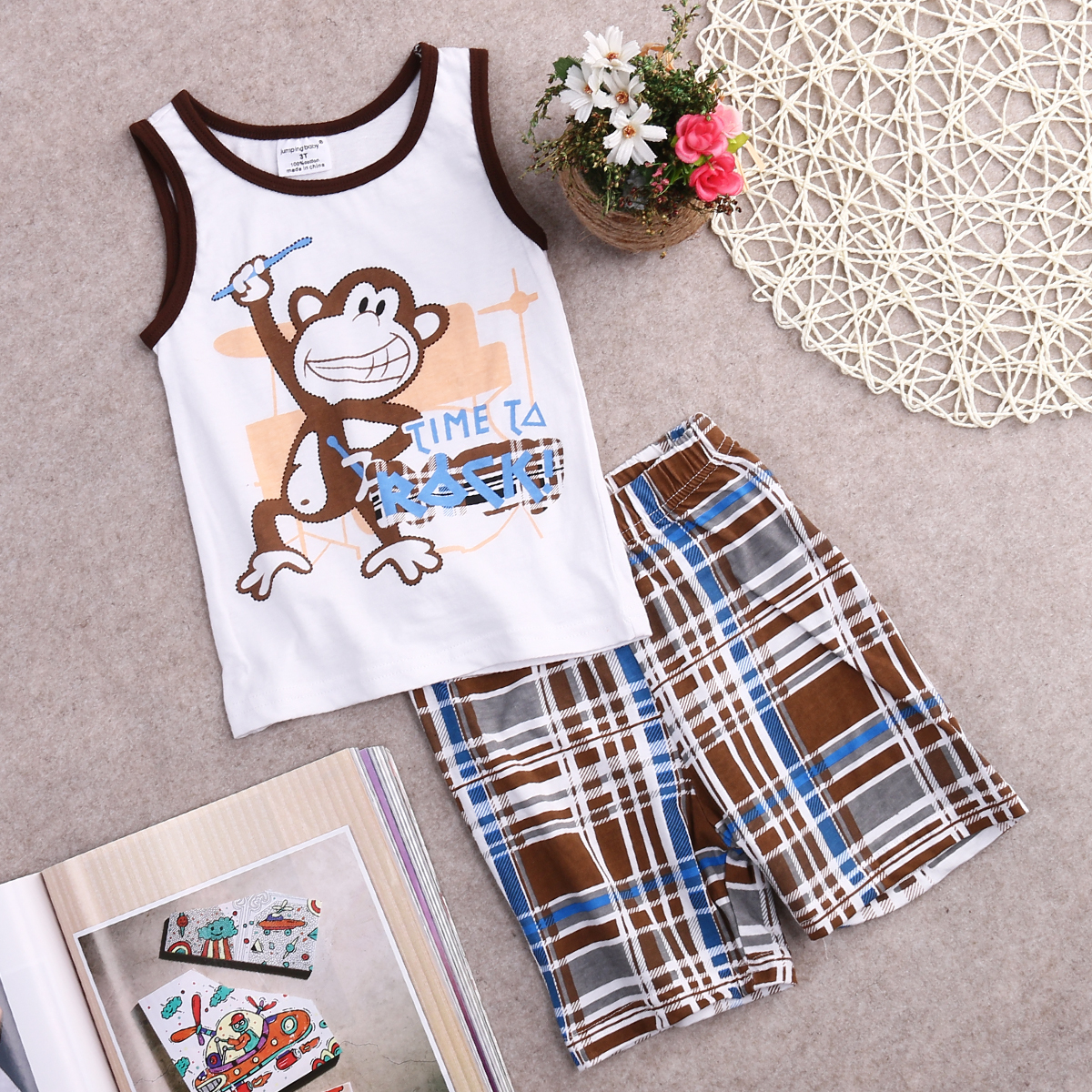 8830f2dff Toddler Kids Baby Boys Summer Outfits T-shirt Tank Tops+Pants 2pcs ...