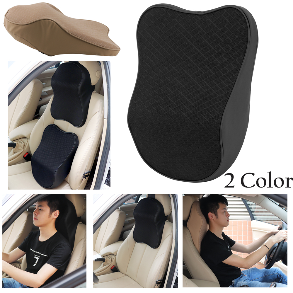 Details About Car Seat Headrest Pad Memory Foam Pillow Head Neck Rest Support Cushion Black Uk
