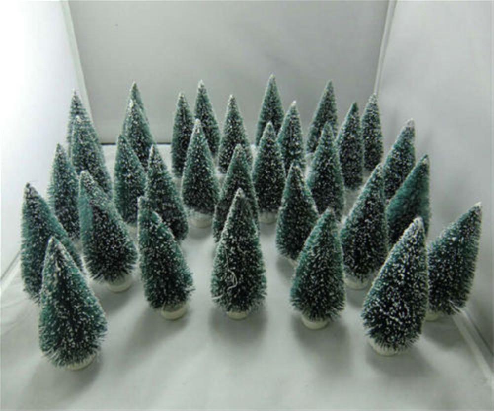 10pcs Mini Sisal Bottle Brush CHRISTMAS TREES Snow Frost
