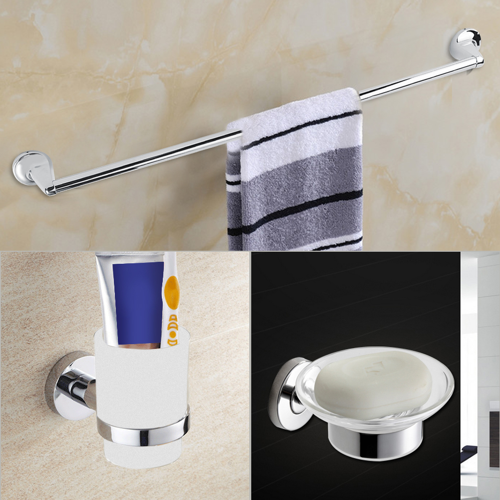 Modern diy chrome bathroom accessories set soap towel for Bathroom accessories toilet roll holder