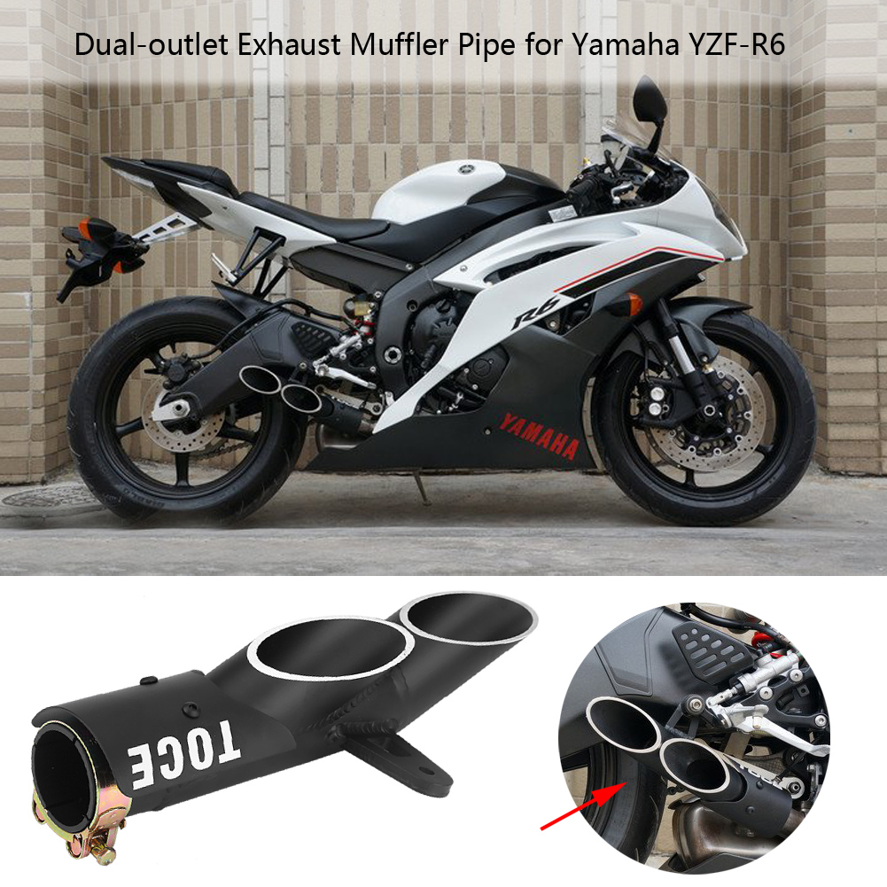 Dual outlet exhaust muffler pipe fit for motorcycle 51mm2inch produktsicht fandeluxe Images