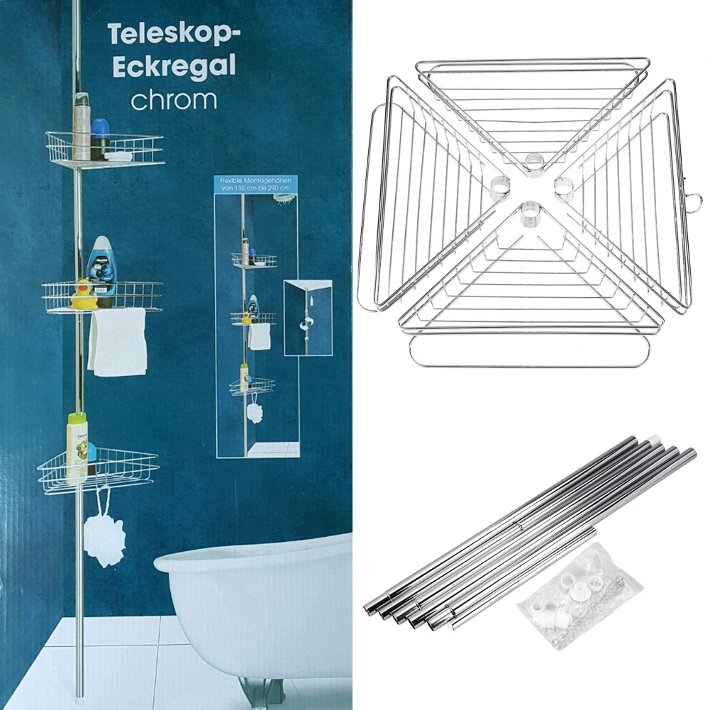 NEW 4 Tier Metal Shower Bathroom Telescopic Shelf Corner Rack ...