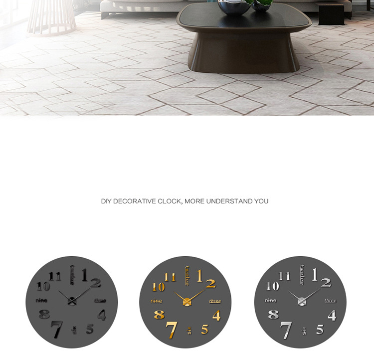 3d gro modern diy zuhause deko spiegel wanduhr klebend aufkleber uhren schwarz ebay. Black Bedroom Furniture Sets. Home Design Ideas