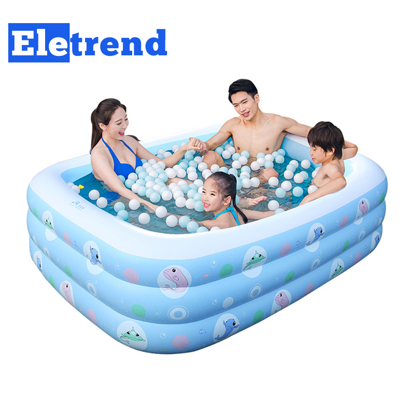3 Rings 12M Inflatable Baby Portable Swimming Pool Kids Rectangle