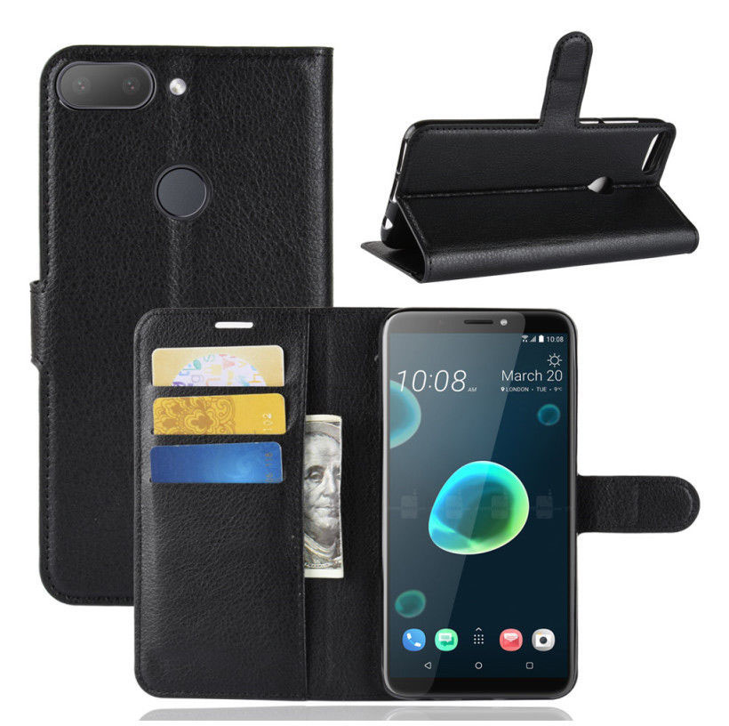 5d642595ef35fe For HTC Desire 12 Plus Litchi PU Leather slot wallet stand flip ...