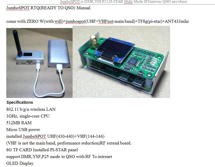 For MMDVM Hotspot Multi-mode D-STAR P25 DMR board with OLED 8G card antenna