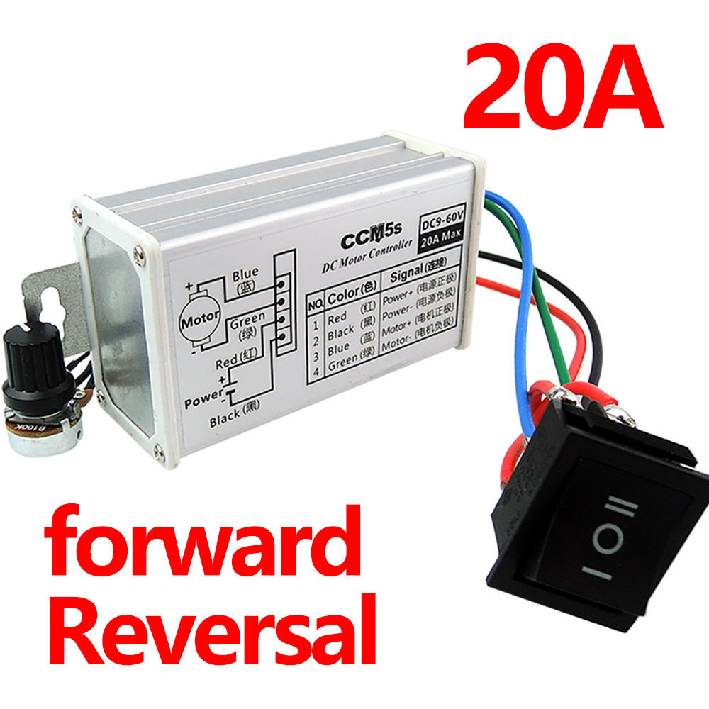 Max 20A 12V 24V PWM DC Motor Stepless Variable Speed Control Controller Switch M