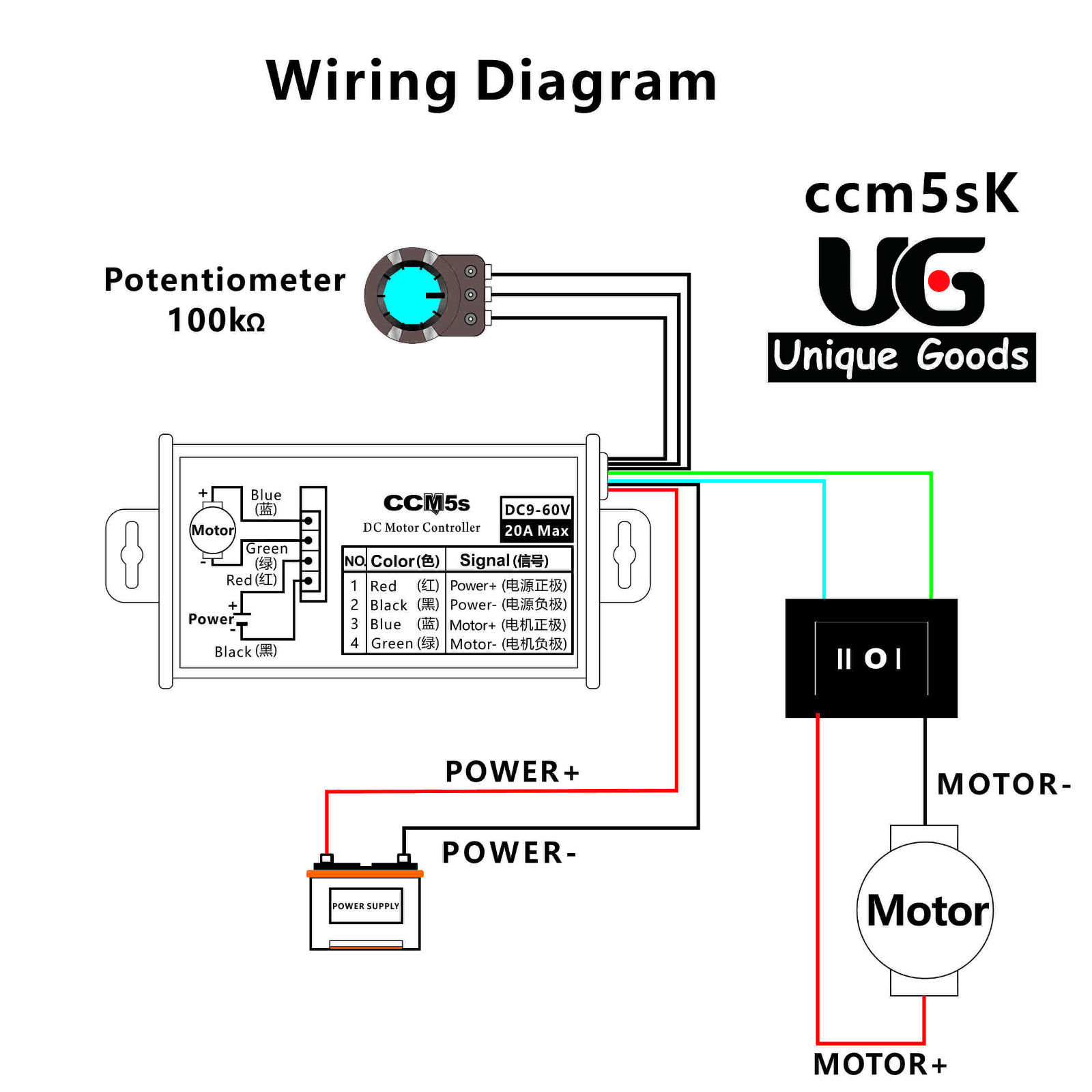 Variable Speed Switch Wiring Diagram Library Dc Motor 12v 24v Pwm Stepless Controller With Metal Shell