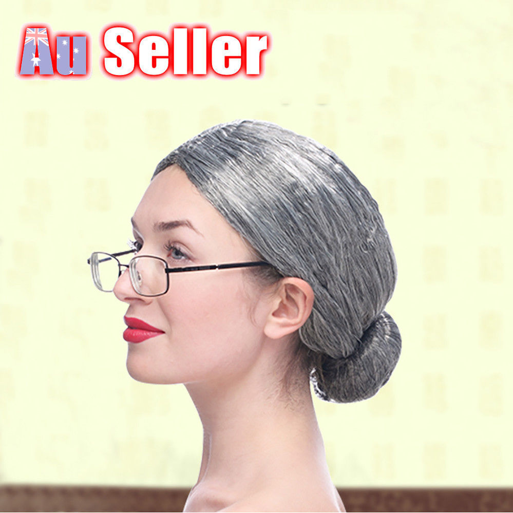 Details about Grandma Wig Old Lady Granny Wigs Cosplay Costume Party Woman  Grey Mother Silver d768559cda