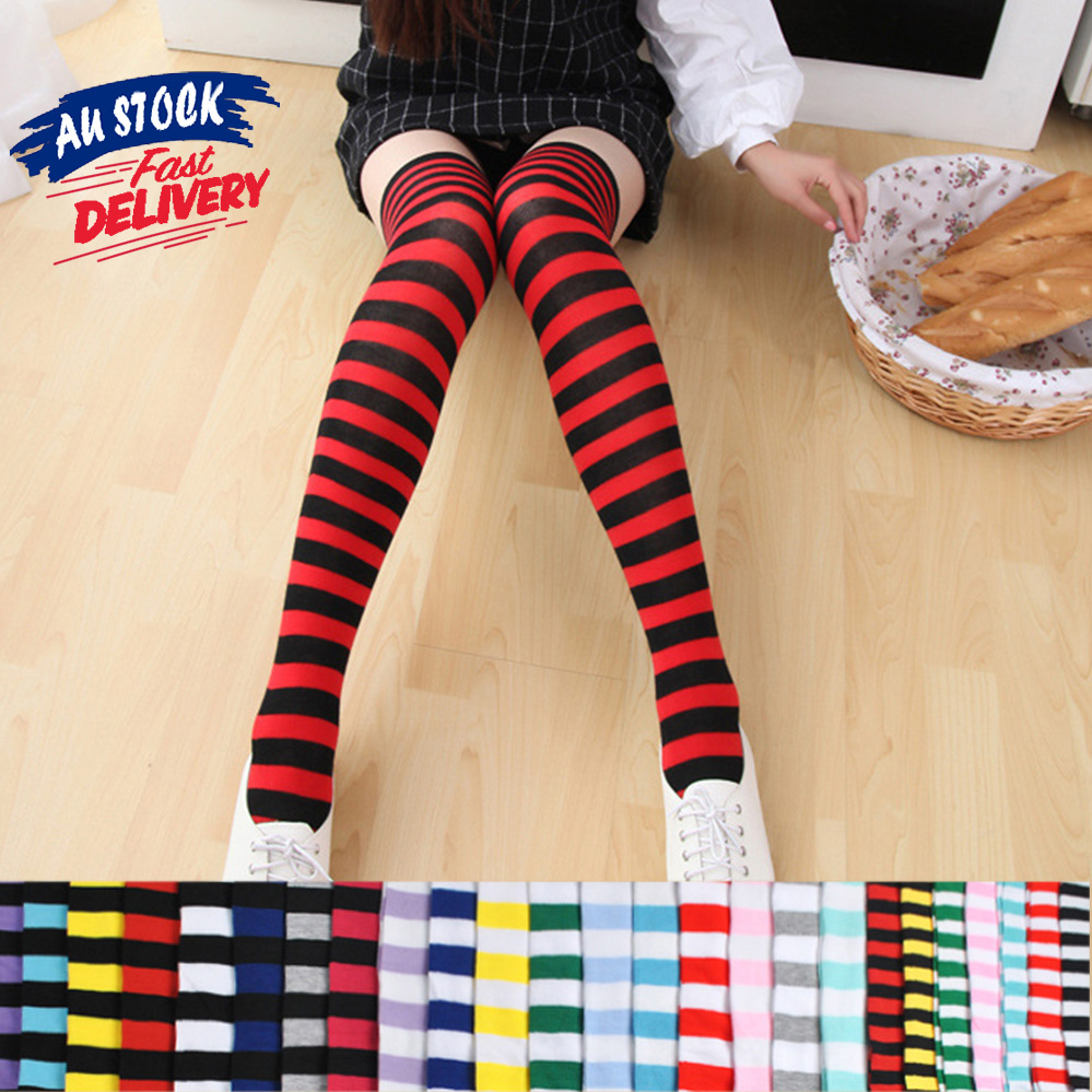 b09db7e56cfd6 Details about 1 Pair Over Knee High Women Lady Japanese Colorful Stripe  Stockings Thigh Socks