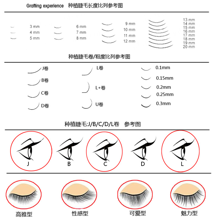 Details about C Curl Individual Eyelash Extensions Mink Single Long Loose  Lashes Strand J Curl