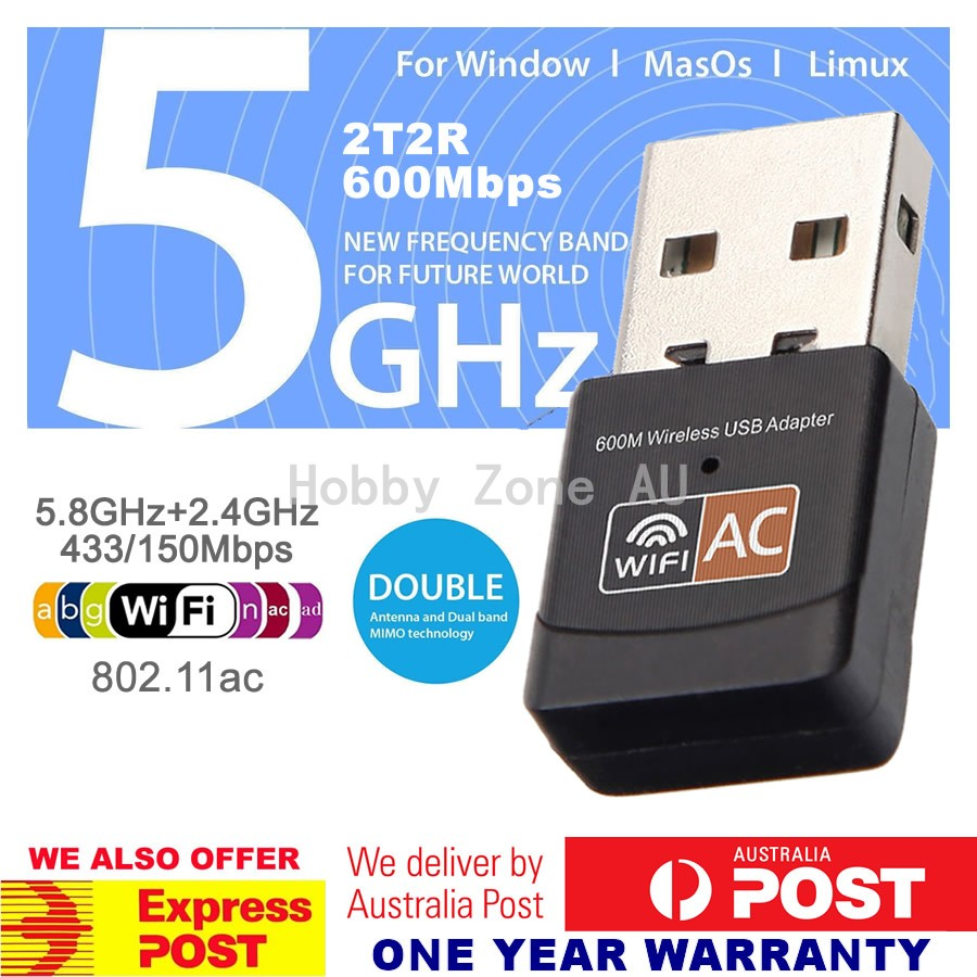 Details about Dual Band 600Mbps USB WiFi Wireless Dongle AC600 Lan Network  Adapter 2 4GHz 5GHz