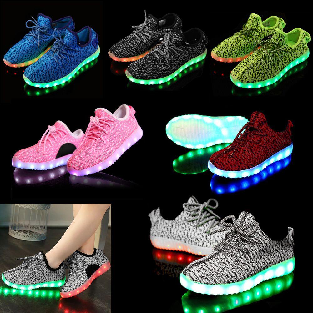 Unisex Kids 7 LED Light Shoes Lace Up Sneaker Luminous Shoes Sportswear Casual