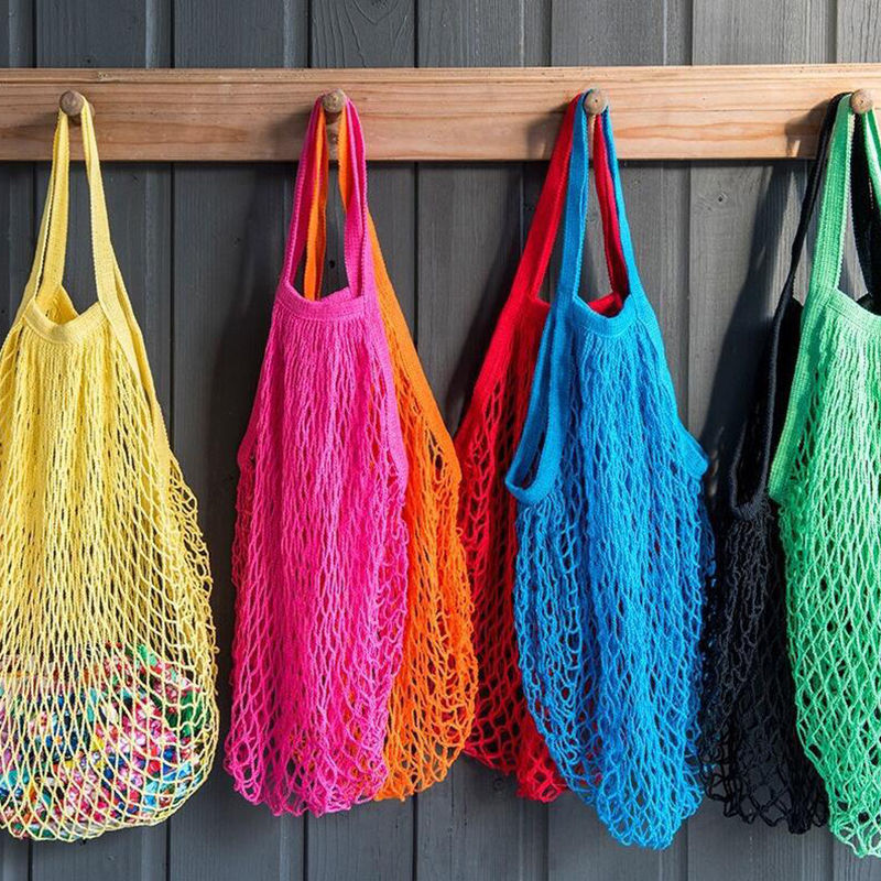 Reusable shopping string grocery eco bag shopper cotton for How to weave a net with string