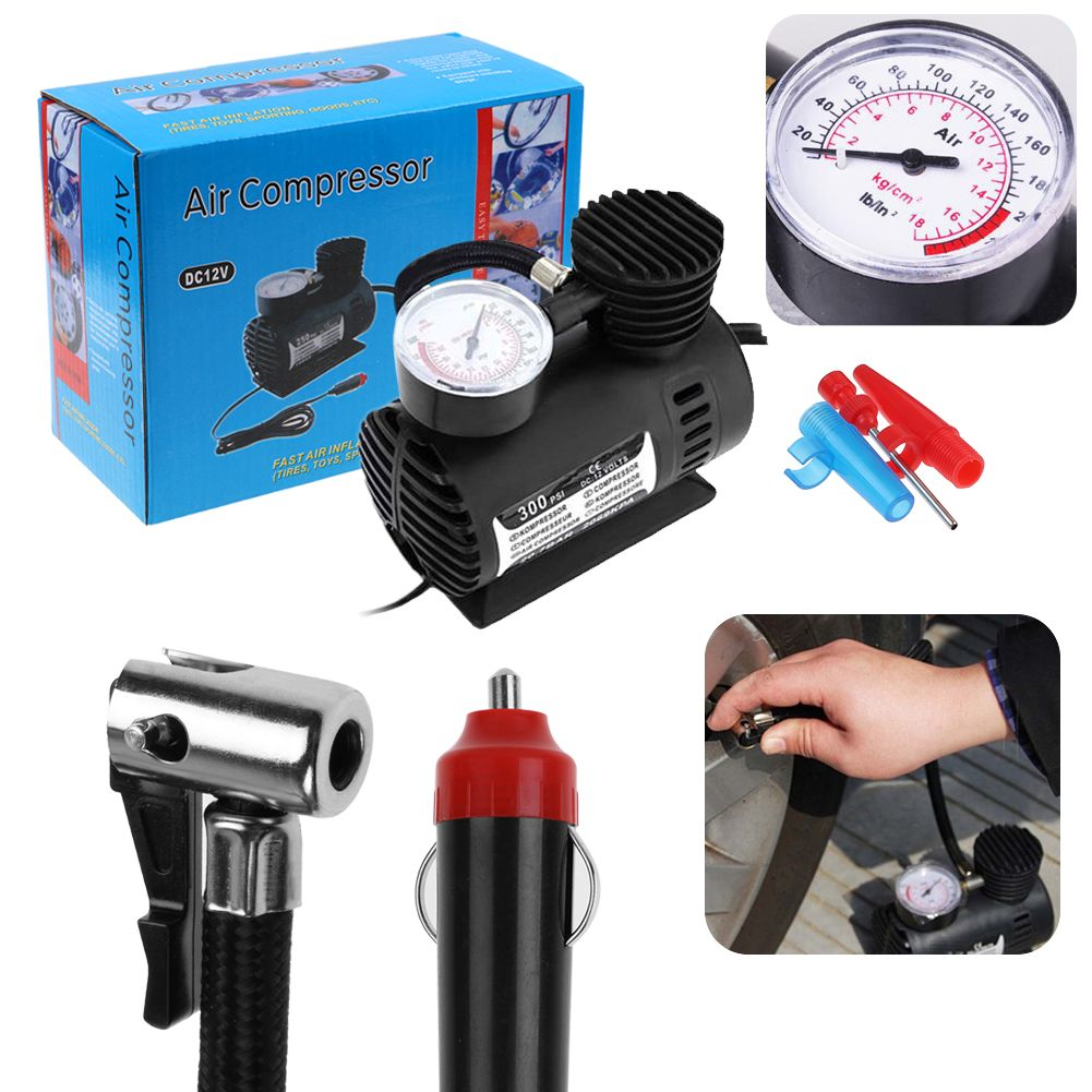 300 psi 12v auto car bike portable tire air compressor electric pump inflator ebay. Black Bedroom Furniture Sets. Home Design Ideas