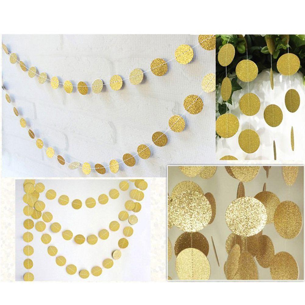 Glitter circle polka dots garland banner bunting pink gold for Gold dot garland