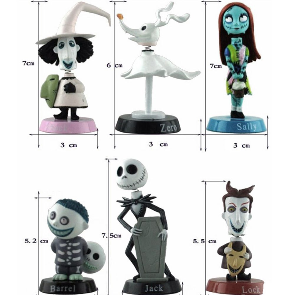 6PCS Jack Skellington The Nightmare Before Christmas Barrel Lock Sally Figur Toy Action- & Spielfiguren