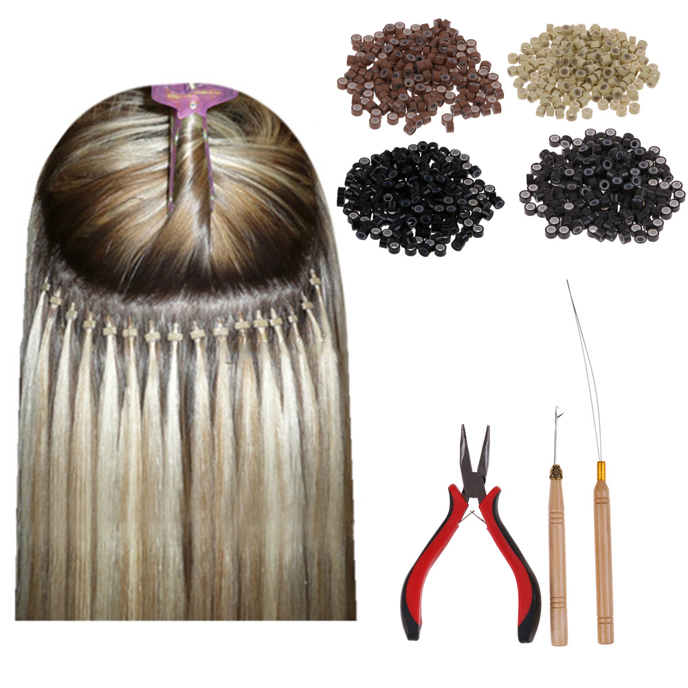 Feather Hair Extension Hook Pliers Tool Kit With 200 Micro Rings