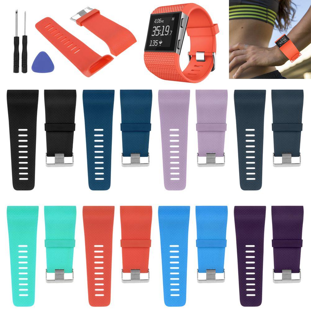 silicone sport bracelet de montre sangle bande pour fitbit surge fitbit ionic ebay. Black Bedroom Furniture Sets. Home Design Ideas