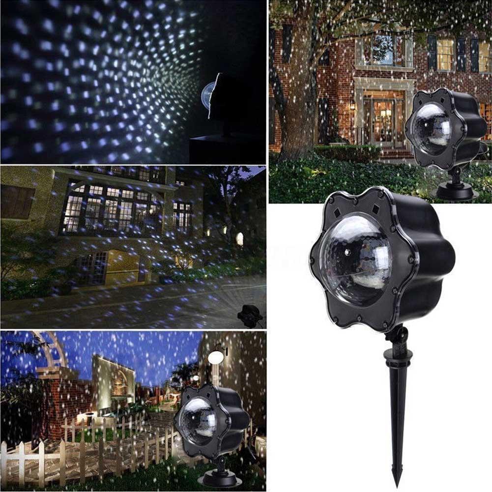 LED Projektor Licht Schnee fallende Weihnachten Schneeflocken Nacht ...