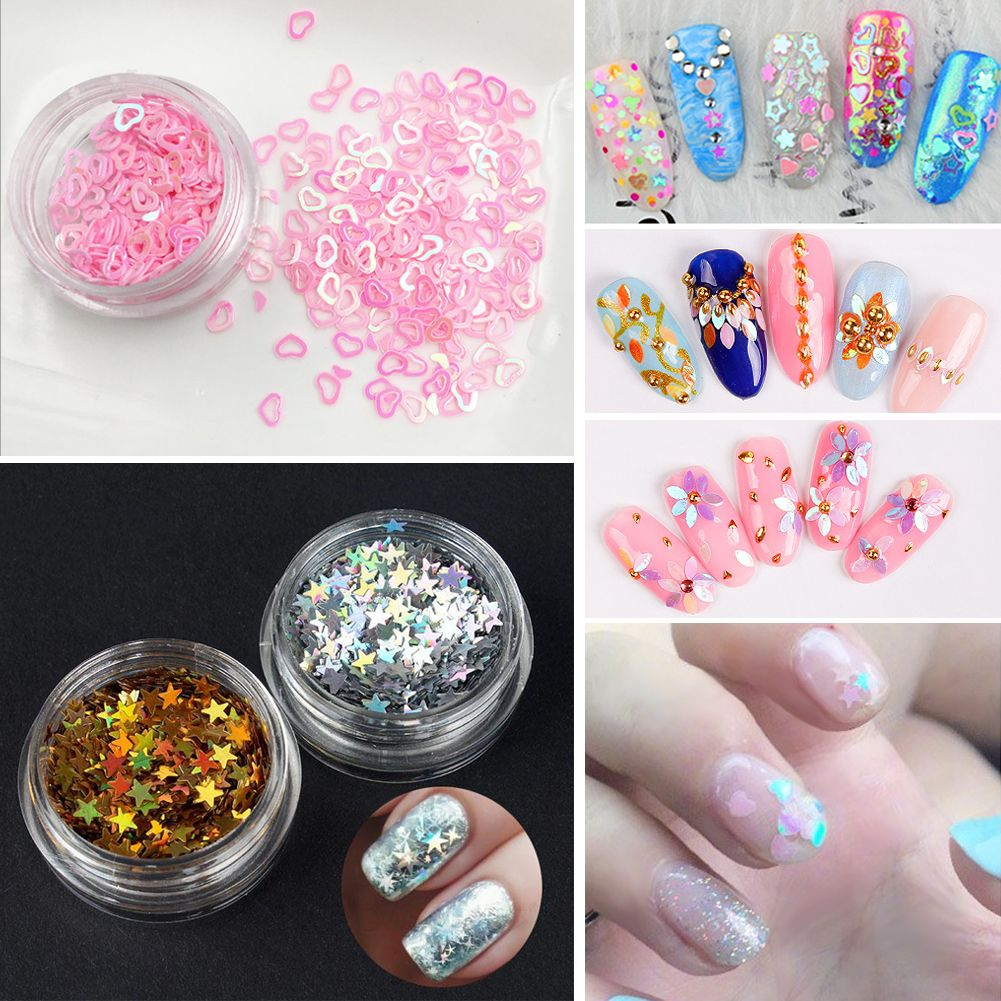 Nail Art Acrylic Glitter Lucky Star Dust Powder Sheet Tips 3D ...