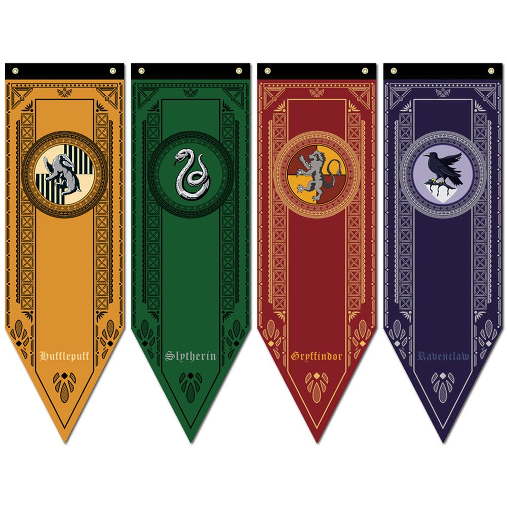 harry potter gryffindor slytherin ravenclaw hogwarts house flag wall banner sign ebay. Black Bedroom Furniture Sets. Home Design Ideas