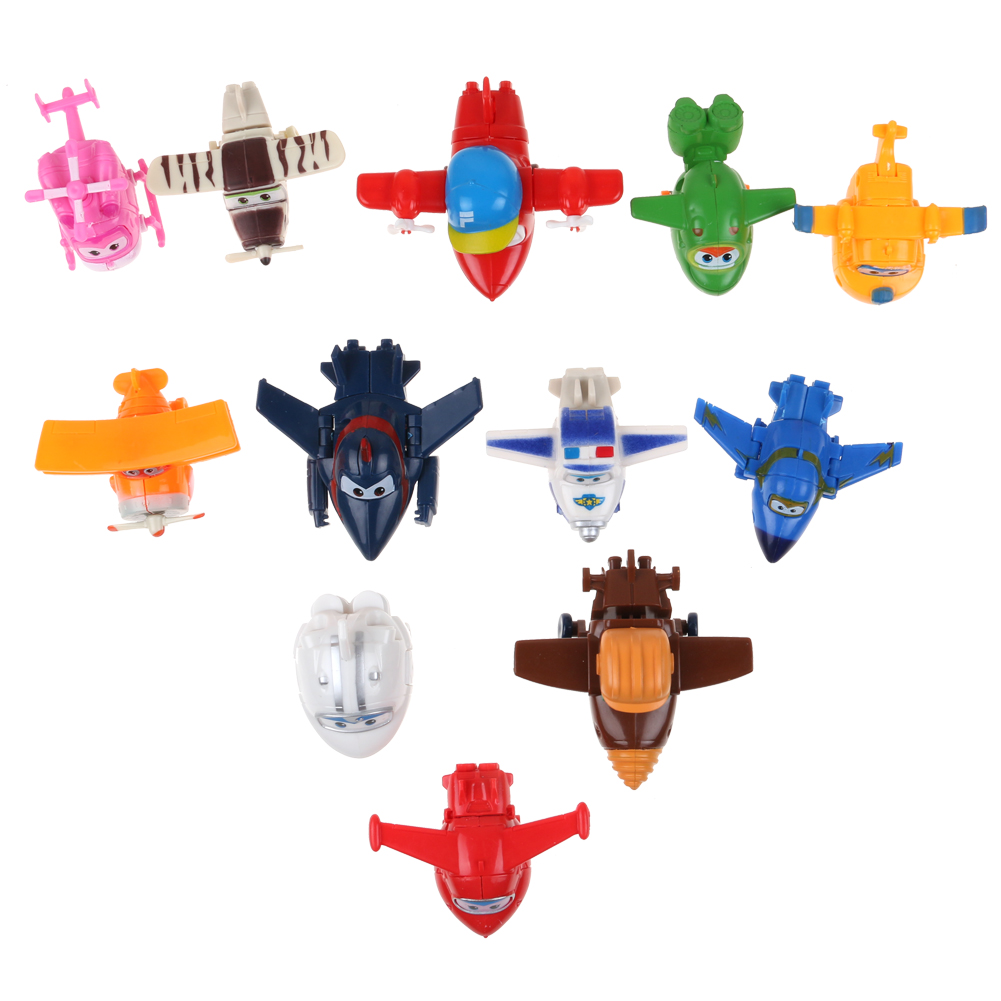 4//8//12Pcs Super Wings Large Robot Transforming to Plane Helicopter Model Toy DE