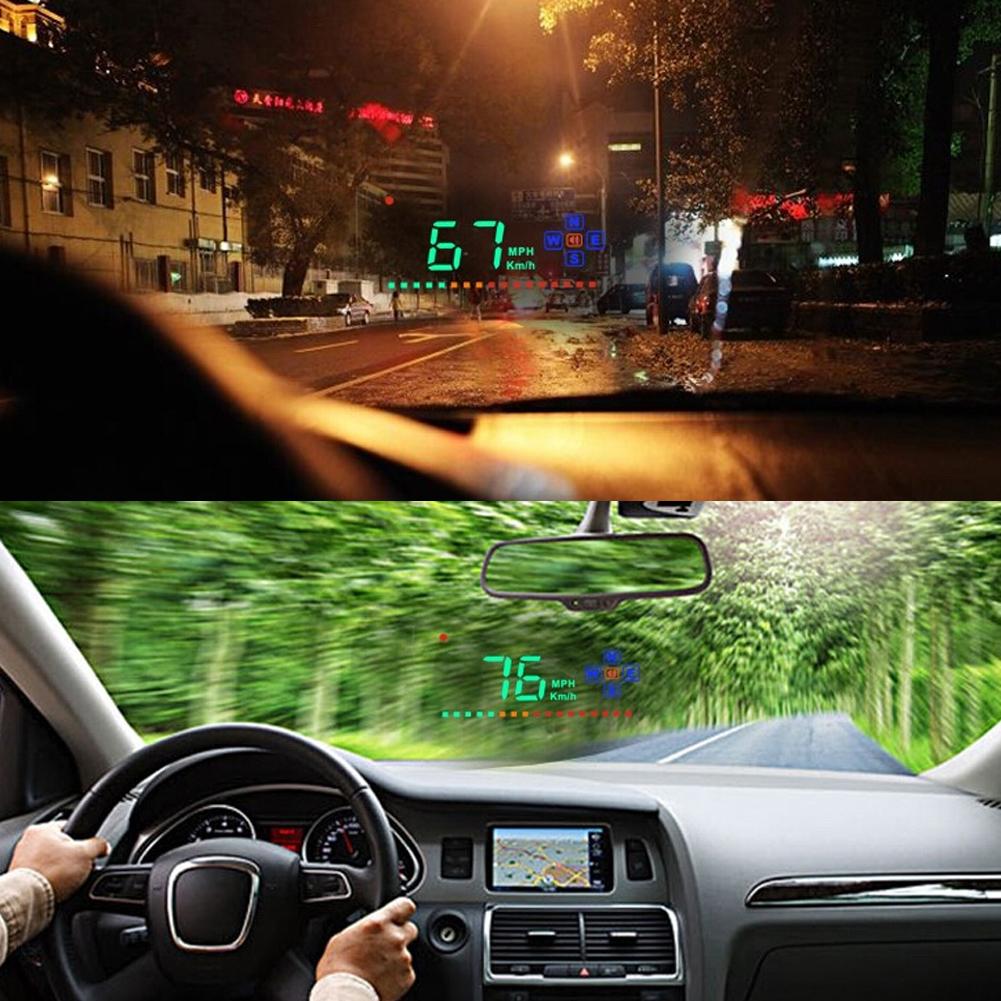 auto hud affichage t te haute head up display voiture gps mph kmh speed warning ebay. Black Bedroom Furniture Sets. Home Design Ideas