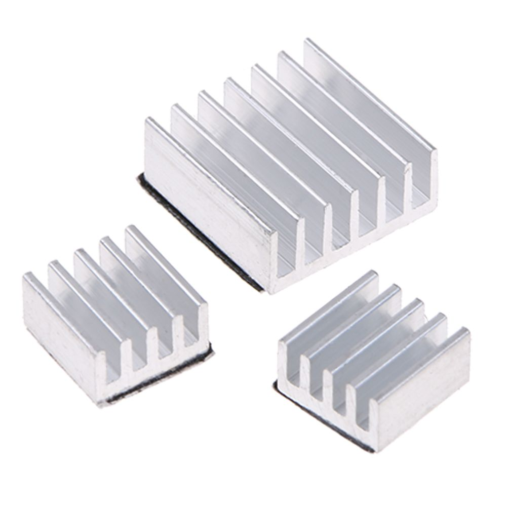 3 Pcs Set Adhesive Black Aluminum Heatsink Cooling Cooler Kit for Raspberry Pi