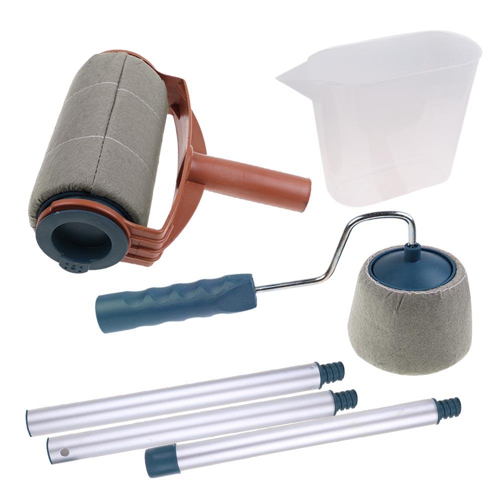 6 pcs set paint roller brush handle pro flocked edger room walls painting runner ebay. Black Bedroom Furniture Sets. Home Design Ideas