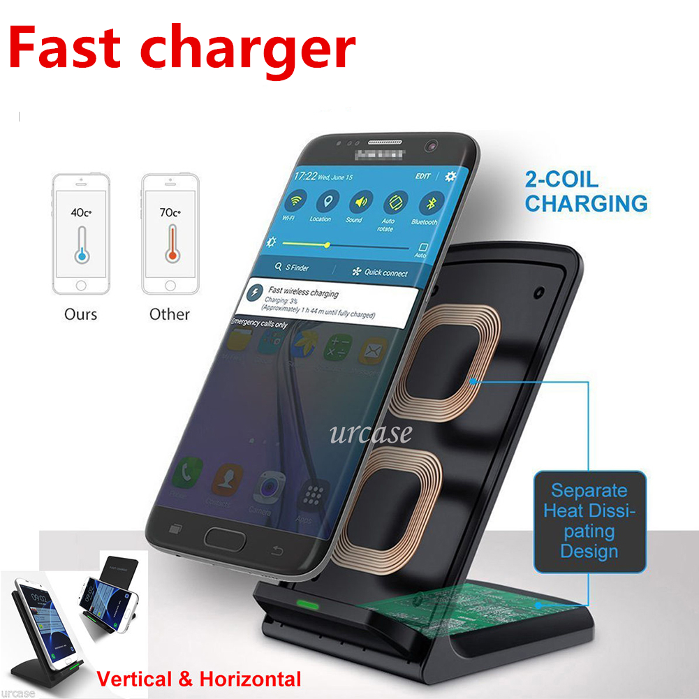 qi chargeur sans fil chargeur rapide 2 bobines pour iphone sumsung lg htc ebay. Black Bedroom Furniture Sets. Home Design Ideas