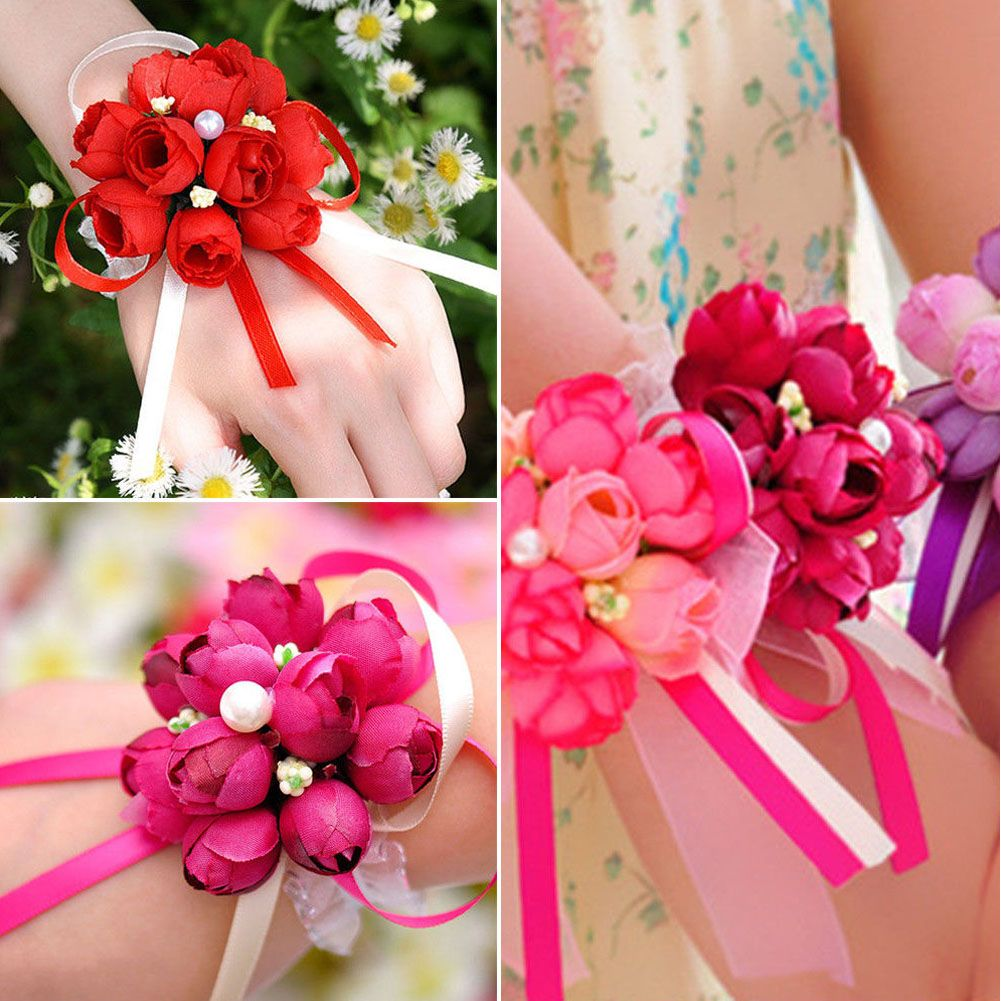 Woman Wrist Corsage Wedding Bridal Bouquet Silk Flower Decoration