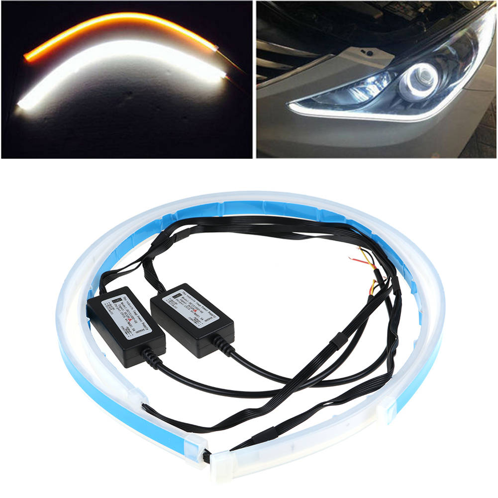 60cm Switchback Car Drl Led Light Strip Sequential Turn Signal White Switch Back Wiring Amber 2pcs