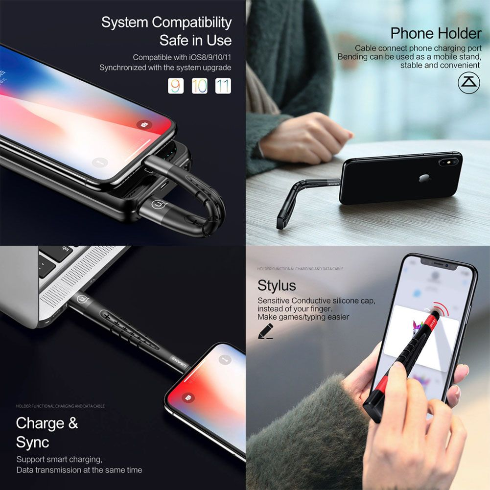 sale retailer cb428 a0b82 Details about 3in1 Phone Holder Stand Data 2A Charging Cable Cord Stylus  Pen For iPhone X 8 7