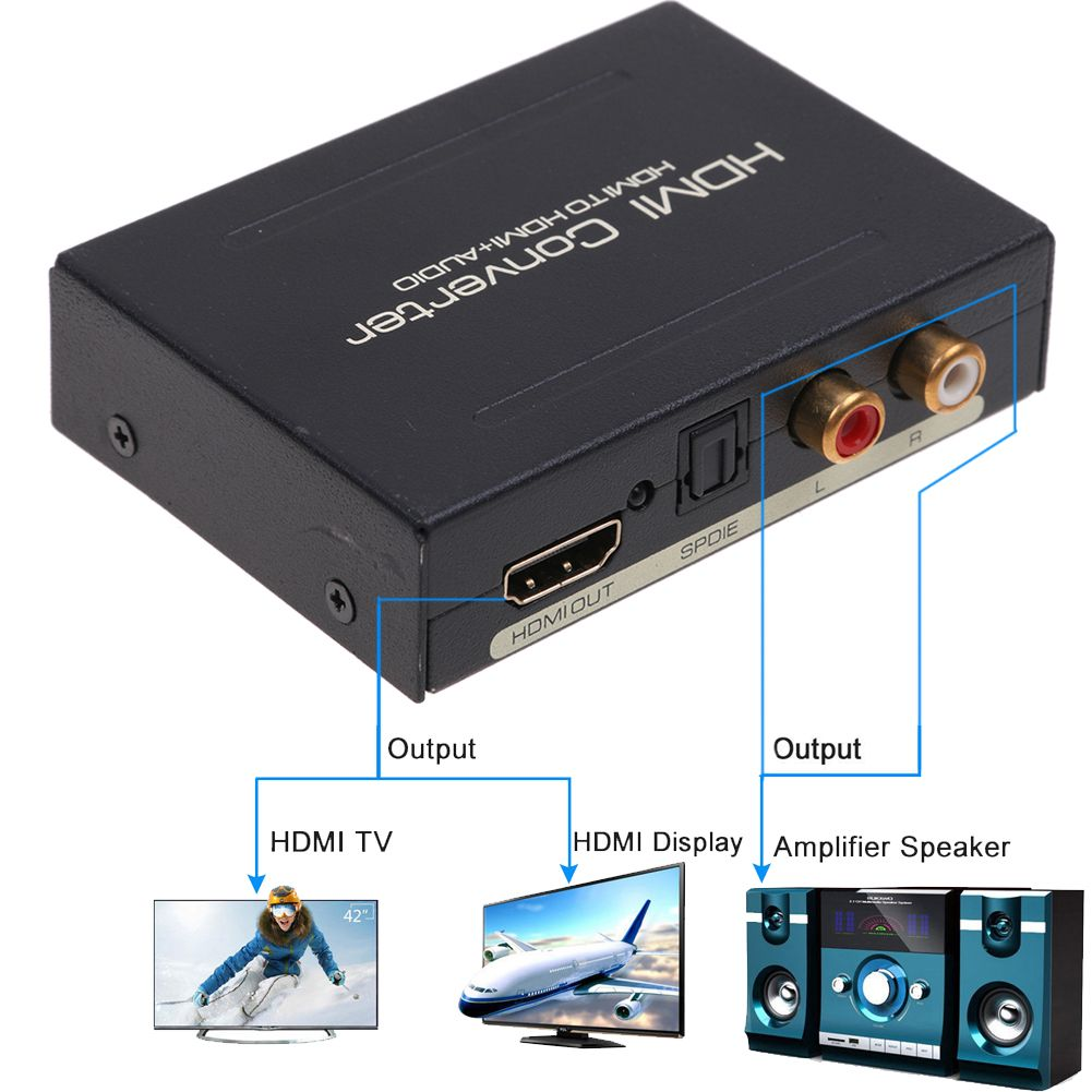 HDMI to HDMI L//R RCA Output 1080p HD Audio Extractor Adapter Converter SPDIF