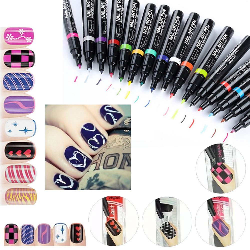 Details about 16 Colors Nail Art Pen Painting Drawing Design Tool Gel  Polish Manicure