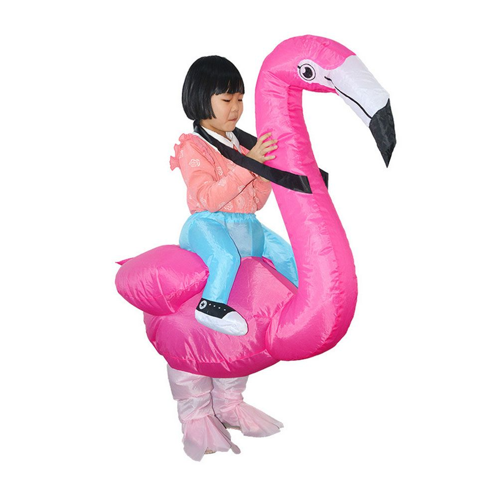 halloween flamingo inflatable costume rider kids party fancy spoof