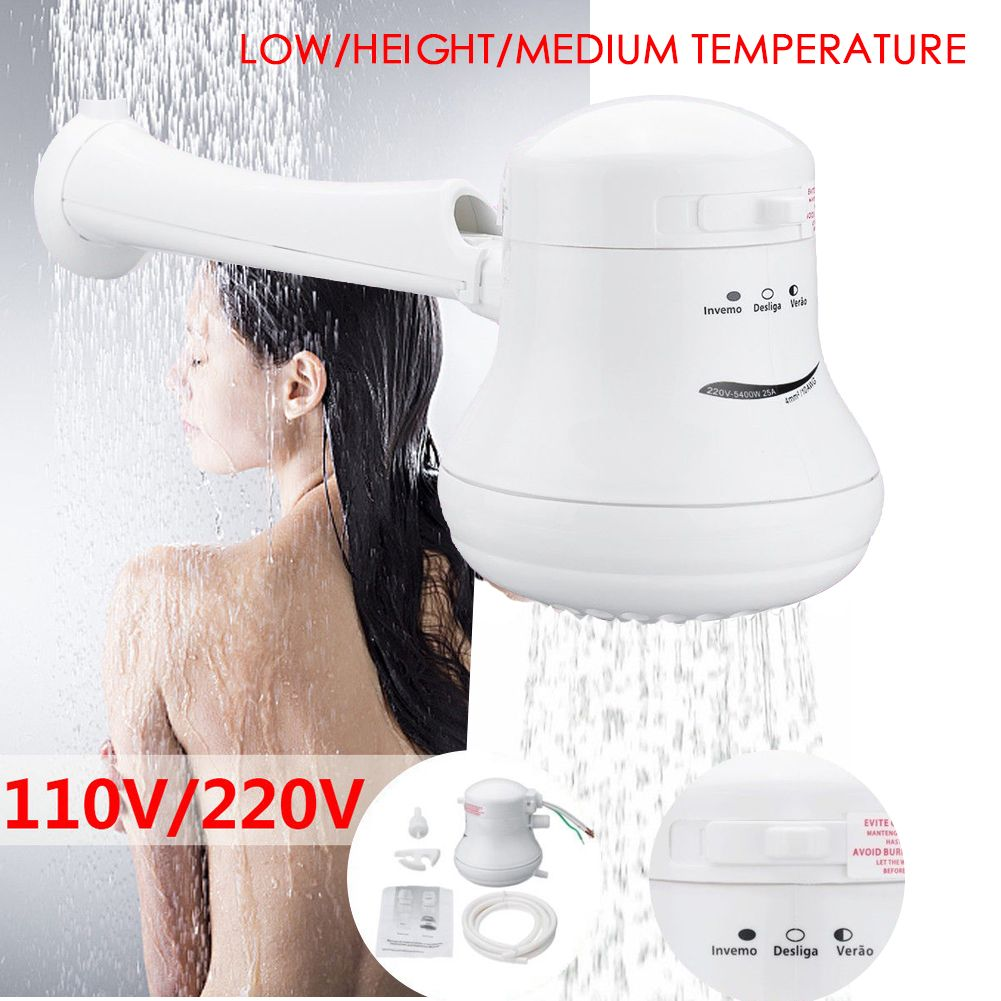 5400W 110V//220V Electric Shower Head Tankless Instant Hot Water Heater Bath Head